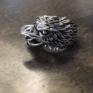 Eagle Stainless Steel Biker Ring Size 8